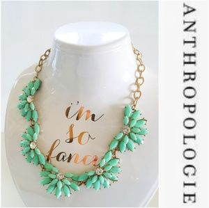 NWOT ANTHROPOLOGIE GREEN & GOLD ANDREA NECKLACE